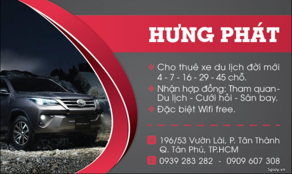 Cho thuê xe du lịch đời mới Hưng Phát