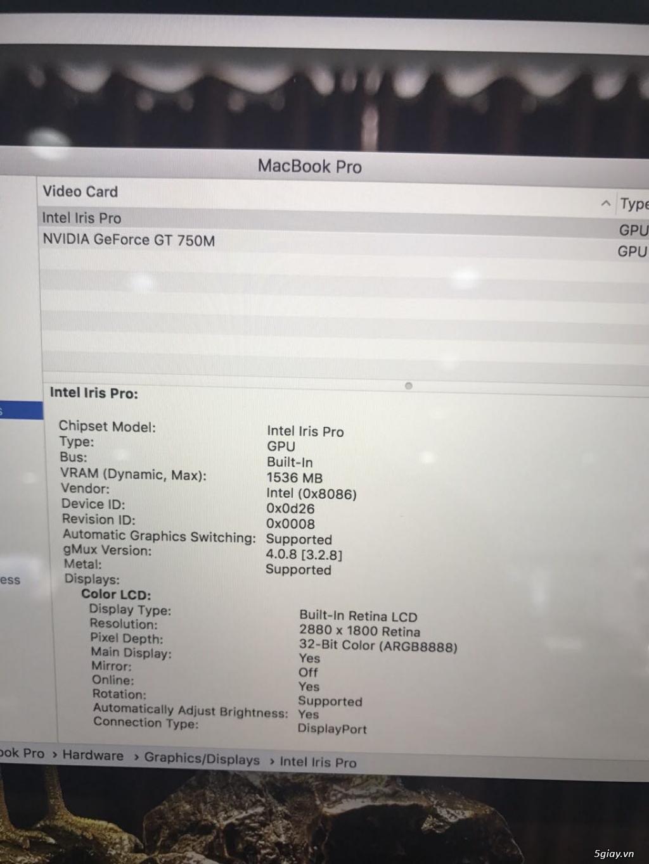 Bán Macbook Pro Retina 15.4 Core i7 2.3Ghz- 16GB -SSD 512GB - Card rời - 7
