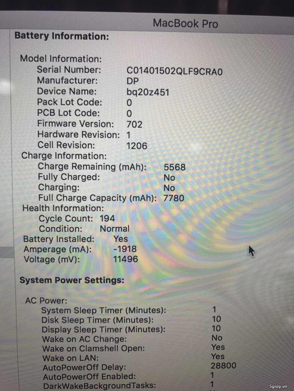 Bán Macbook Pro Retina 15.4 Core i7 2.3Ghz- 16GB -SSD 512GB - Card rời - 8