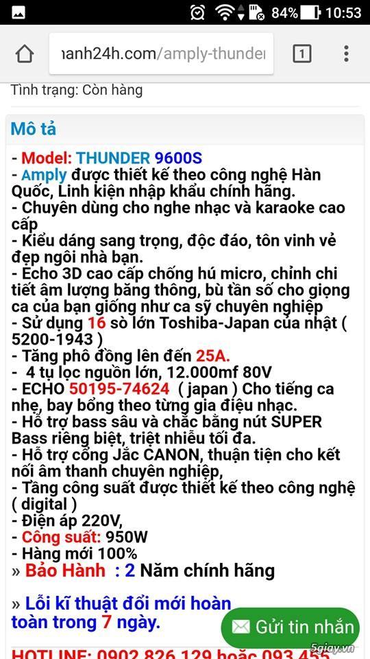 AMPLY thunder 9600s 16 sò lớn cực mạnh, chính hảng bảo hành 2 năm - 1