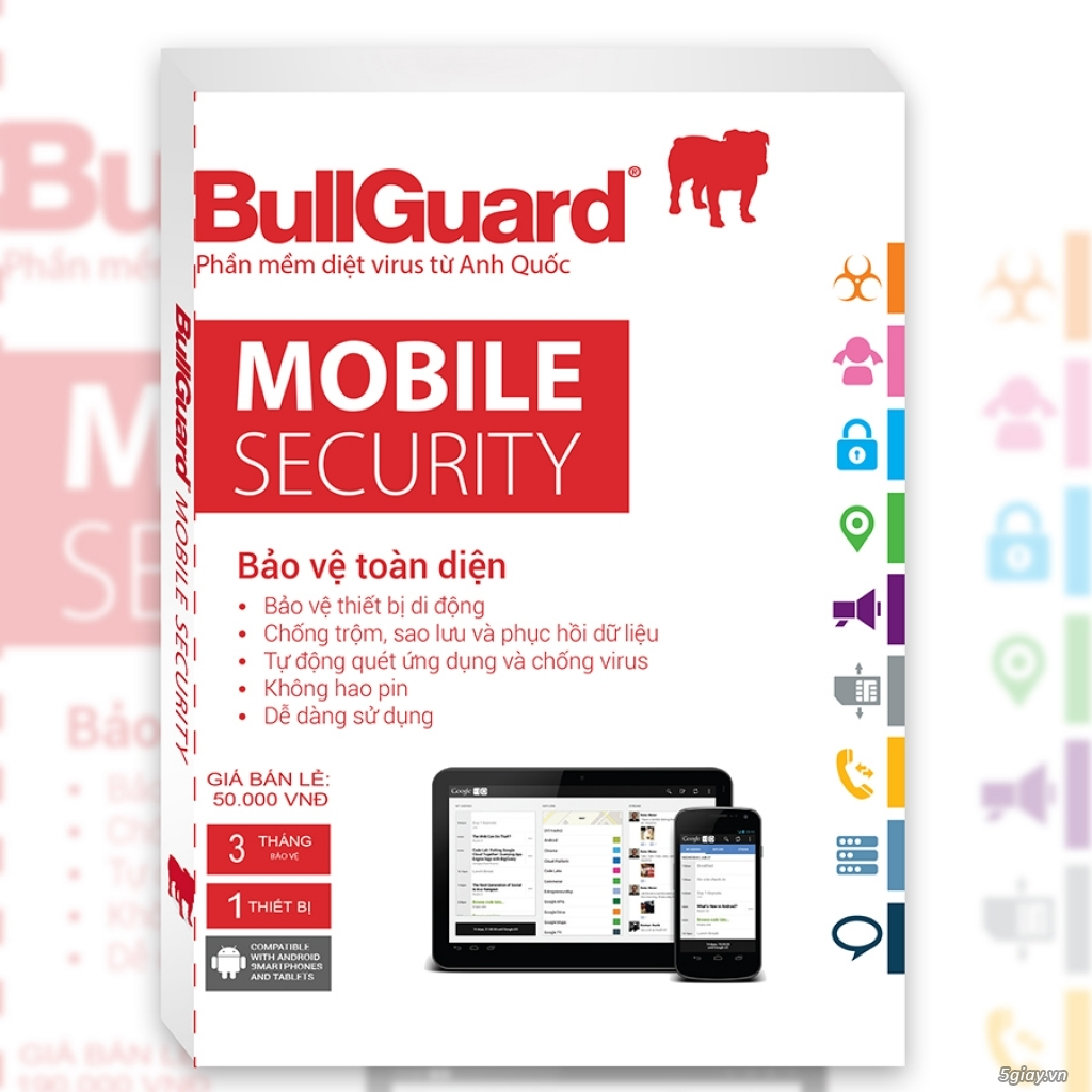 BullGuard Mobile - Tablet Security - 50k/3T + 3T Free = 6 Tháng - 5