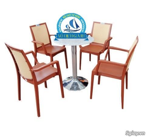 bộ bàn cafe sân vườn inox nhựa - 1