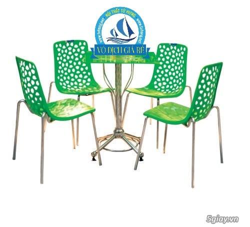 bộ bàn cafe sân vườn inox nhựa - 4