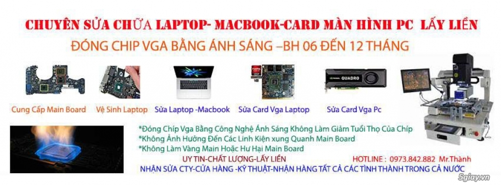 LAPTOP-MACBOOK hư chip VGA, có nguồn không lên hình, rác sọc màn hình - 4