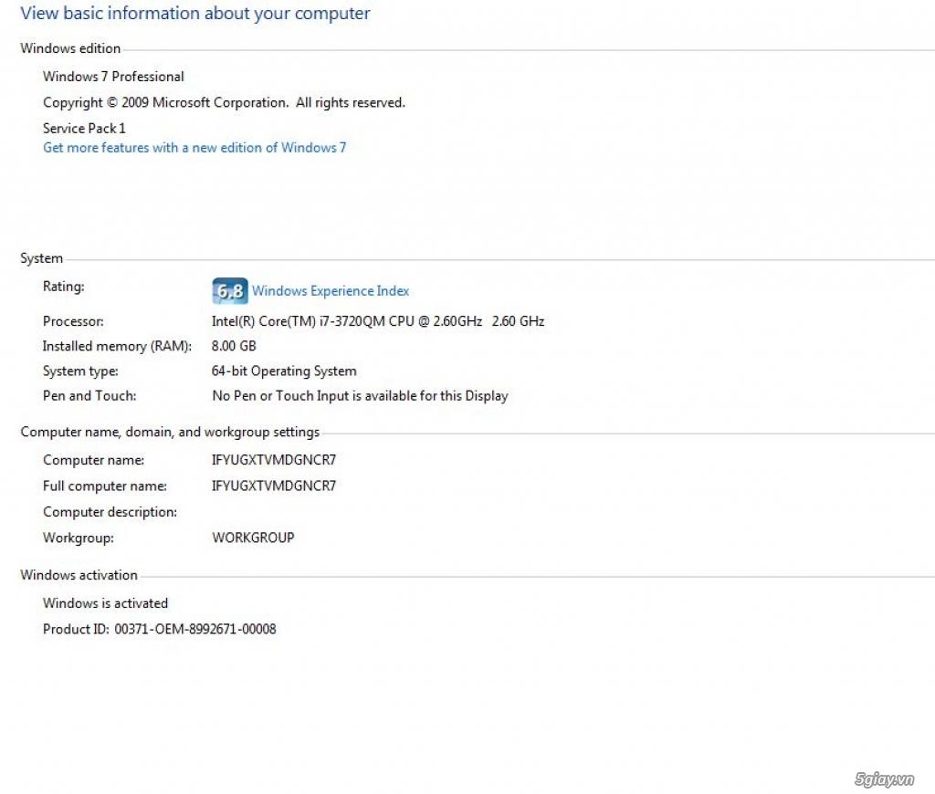 Cần bán 1 laptop HP 8570w giá rẻ