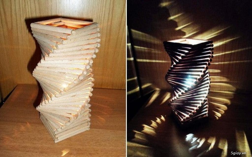 Làm đèn trang trí từ que gỗ cực độc - 207806
