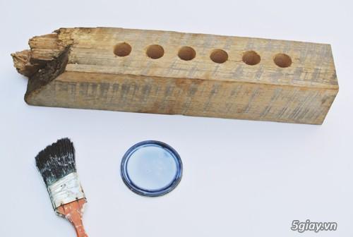 Lọ hoa cá tính từ gỗ và ống nghiệm - 207978