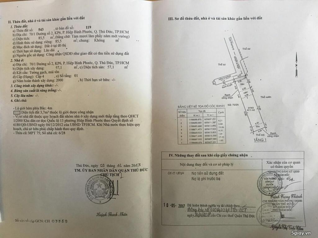Cần bán gấp 3 lô đất chính chủ ở 70/2 đường số 2, P. Hiệp Bình Phước