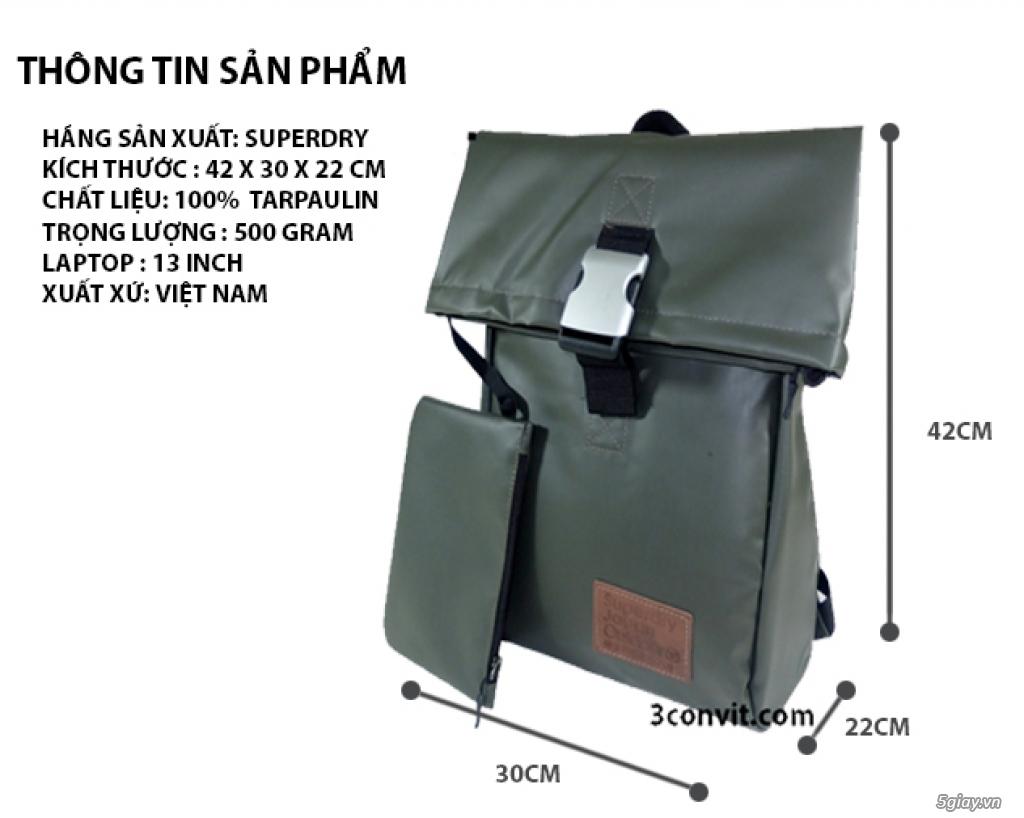 Balo Superdry Deluxe Tarpaulin Backpack Grey new 100%, giá rẻ - 1
