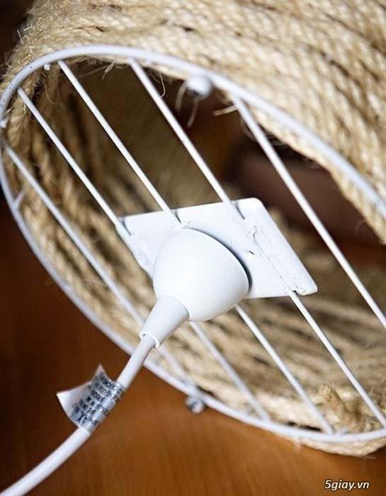 Cách làm đèn treo mộc mạc bằng dây thừng - 211744