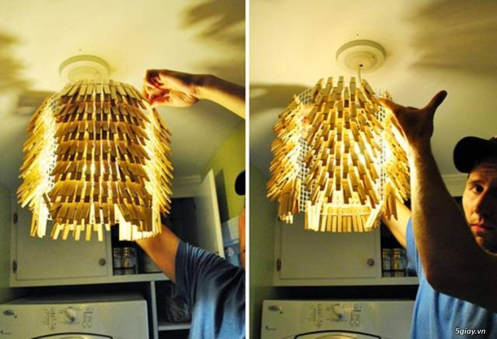 Chụp đèn độc đáo từ kẹp gỗ - 212504