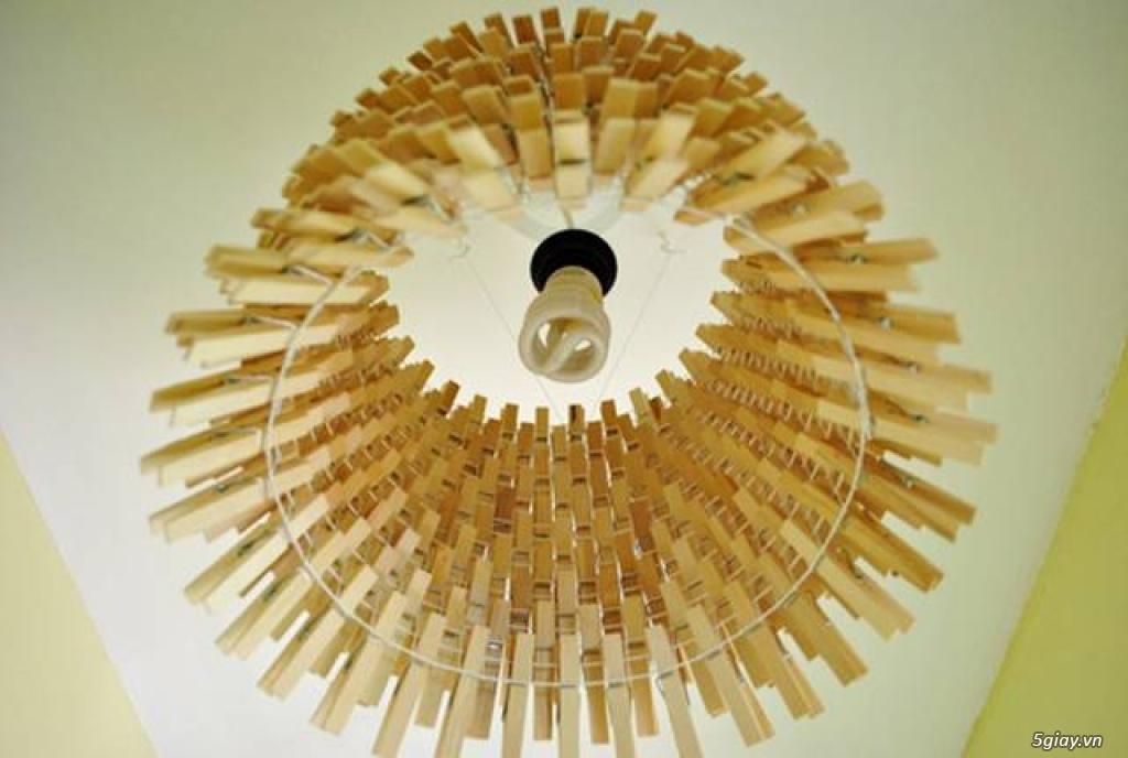 Chụp đèn độc đáo từ kẹp gỗ - 212505