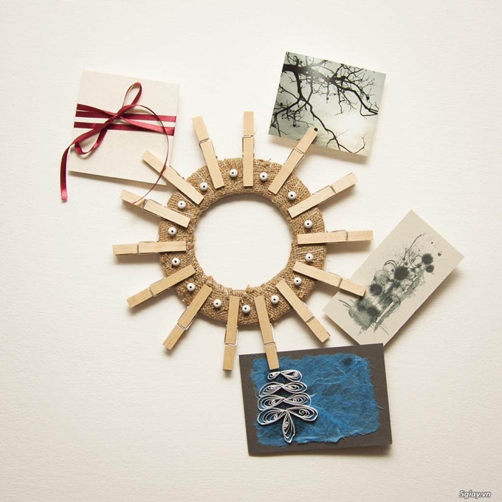 Khung ảnh tuyệt đẹp bằng vải thô và kẹp gỗ - 213170