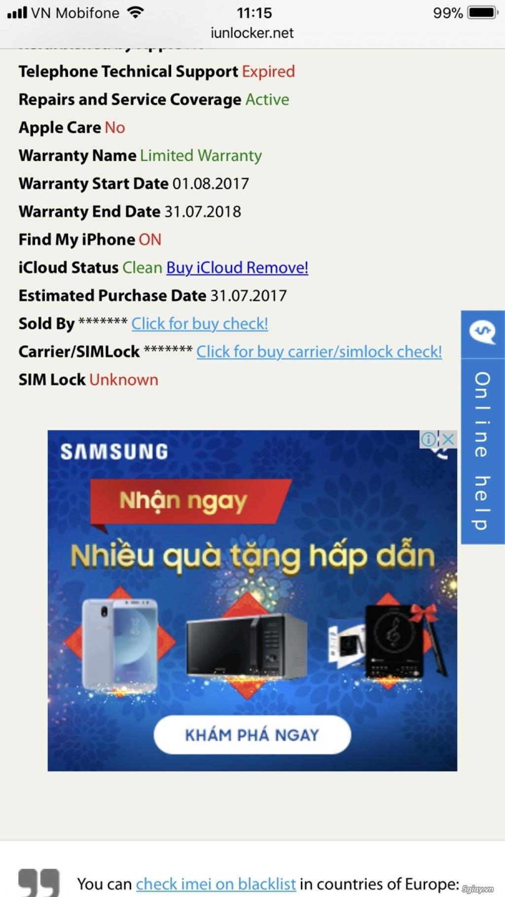 Iphone 7 plus gold 32gb lock Tmobi còn bh 07/2018 - TP Hồ Chí Minh