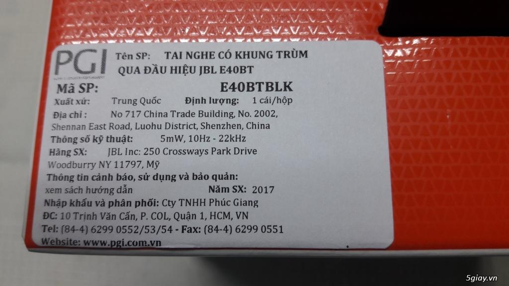 DƯ DÙNG BÁN 01 TAI NGHE BLUTOOTH JBL E40BT - HÀNG CHÍNH HÃNG - 2