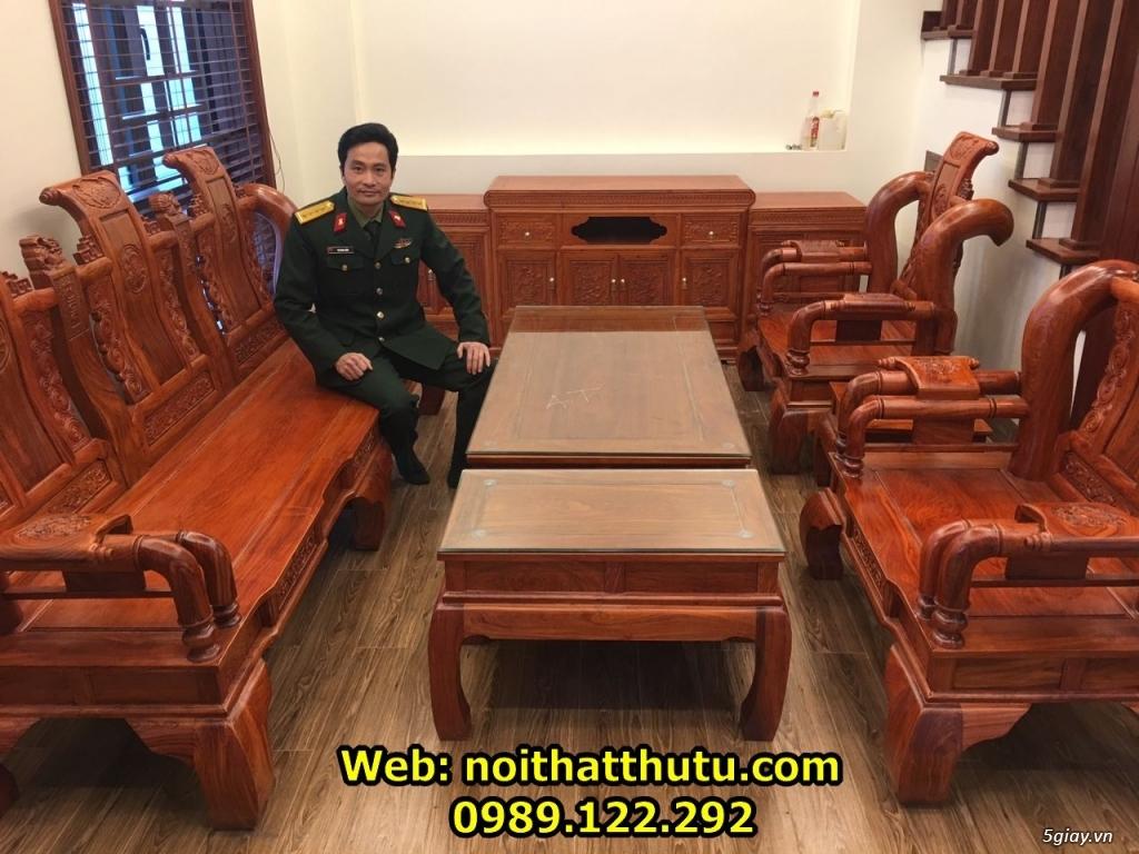 Bộ Bàn Ghế Tần Thủy Hoàng Tay 12 Gỗ Hương Đá - 1