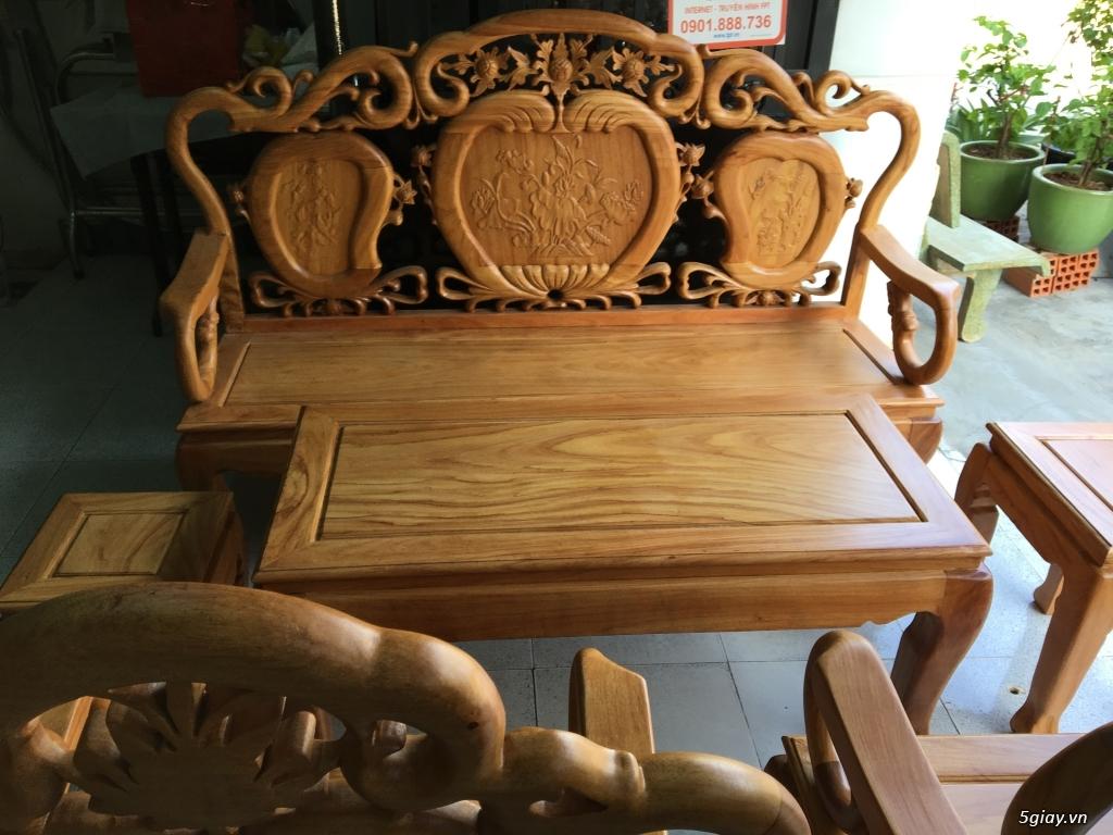 Bộ salon gỗ gõ Trúc Đào hàng mới - 2