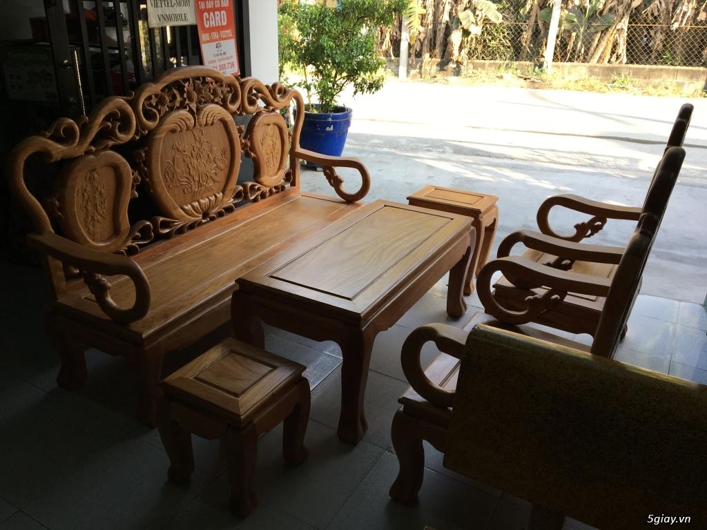 Bộ salon gỗ gõ Trúc Đào hàng mới