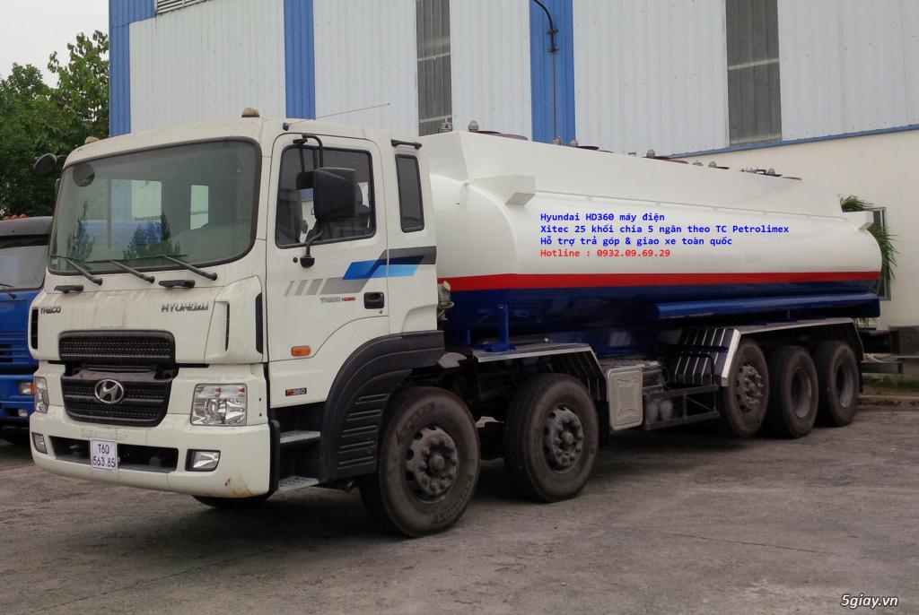 Xe bồn Hyundai 25 khối, bồn xăng dầu Hyundai 5 chân HD360 Petrolimex