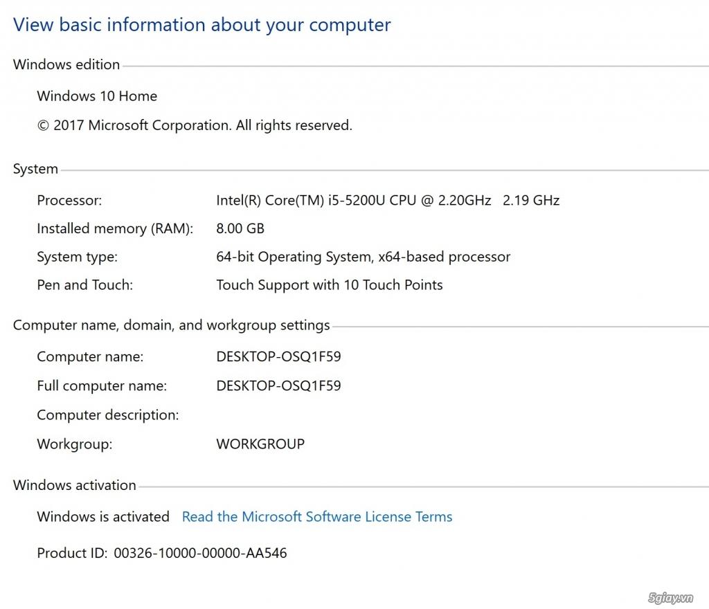 Bán Del XPS 13 9343 cảm ứng i5 Ram 8G