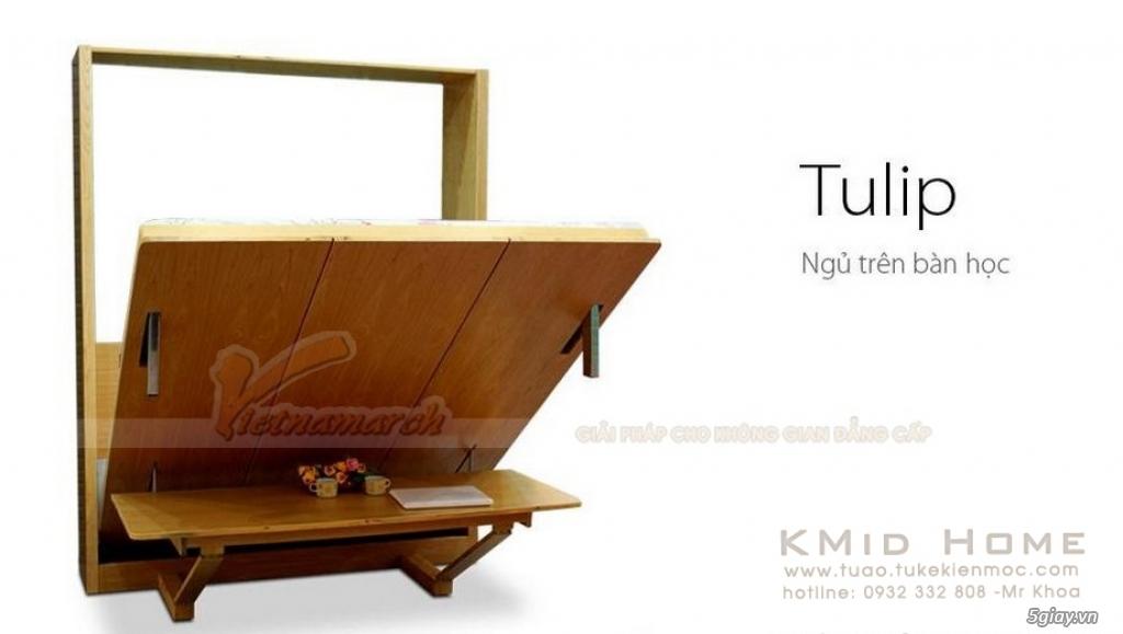 Mẫu giường gấp thông minh kết hợp với bàn học Tulip KMid Home