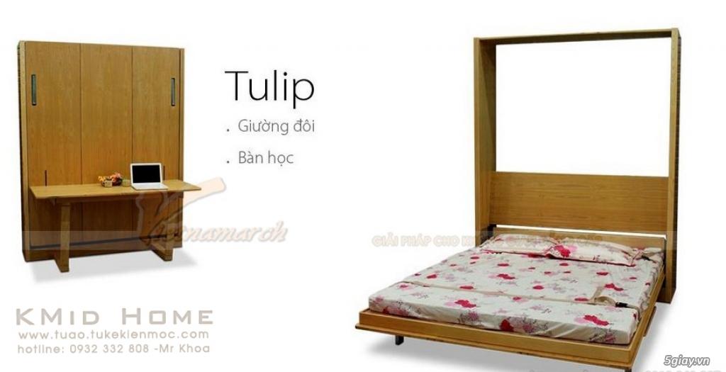 Mẫu giường gấp thông minh kết hợp với bàn học Tulip KMid Home - 10