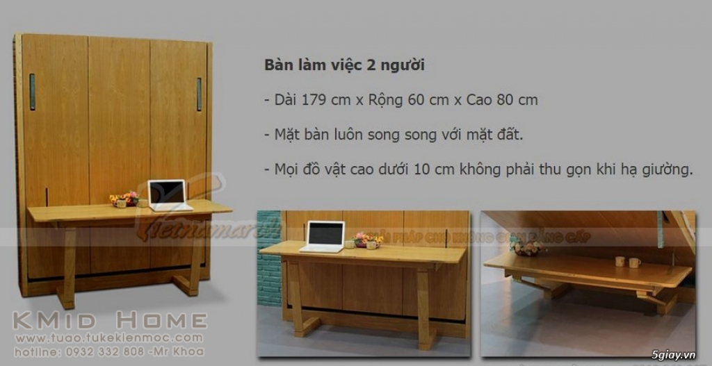 Mẫu giường gấp thông minh kết hợp với bàn học Tulip KMid Home - 8
