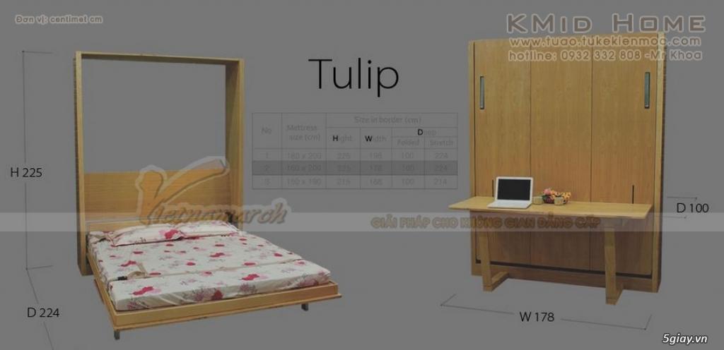 Mẫu giường gấp thông minh kết hợp với bàn học Tulip KMid Home - 6