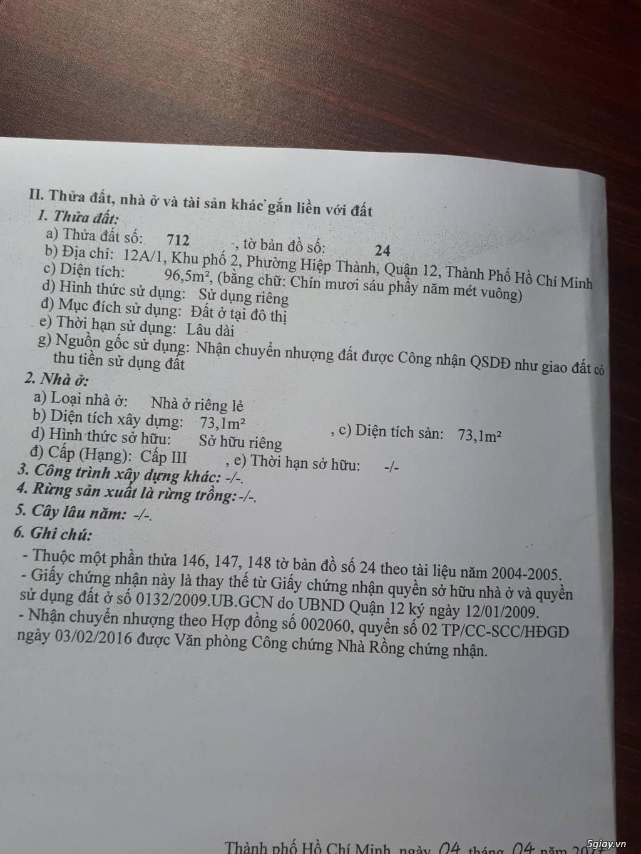 chính chủ , bán gấp mặt tiền Nguyễn Ảnh Thủ . Q12 - 3