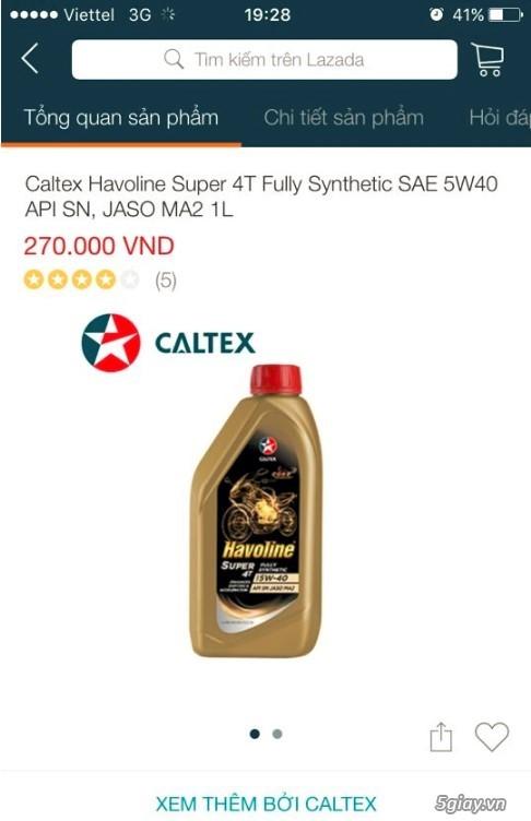 Nhớt tổng hợp 100%. Fully synthetics. Havoline super 4T w40. End 23h00 ngày 29/9/2019 - 1