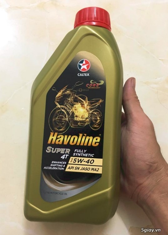 Nhớt tổng hợp 100%. Fully synthetics. Havoline super 4T w40. End 23h00 ngày 13/9/2019 - 2