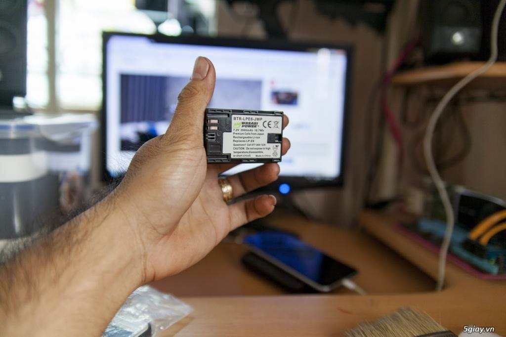 Thanh lý pin LP-E6 Washabi chính hãng, full 3 vạch, nguyên tem zin