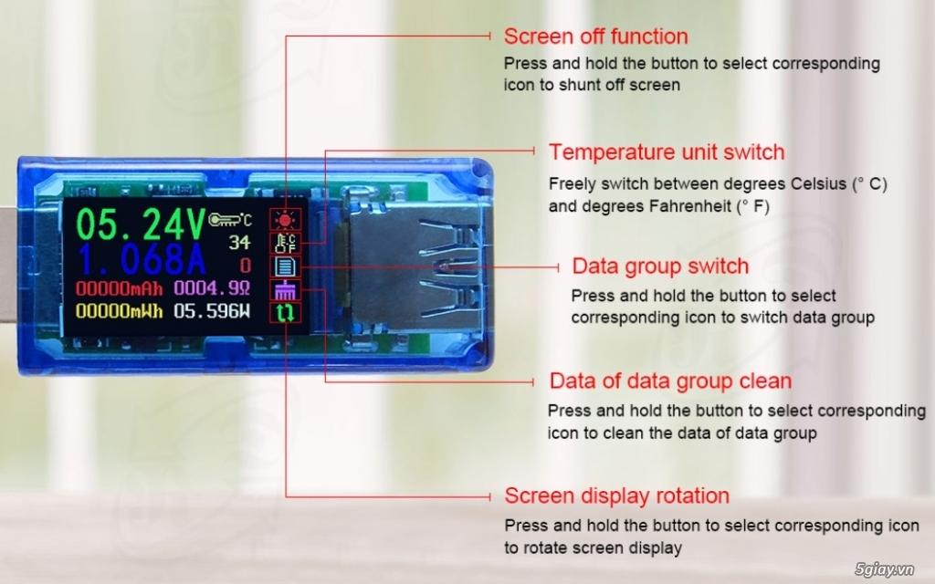 Bộ USB test đo dòng sạc điện thoại, kiểm tra pin sạc dự phòng, cục sạc - 4