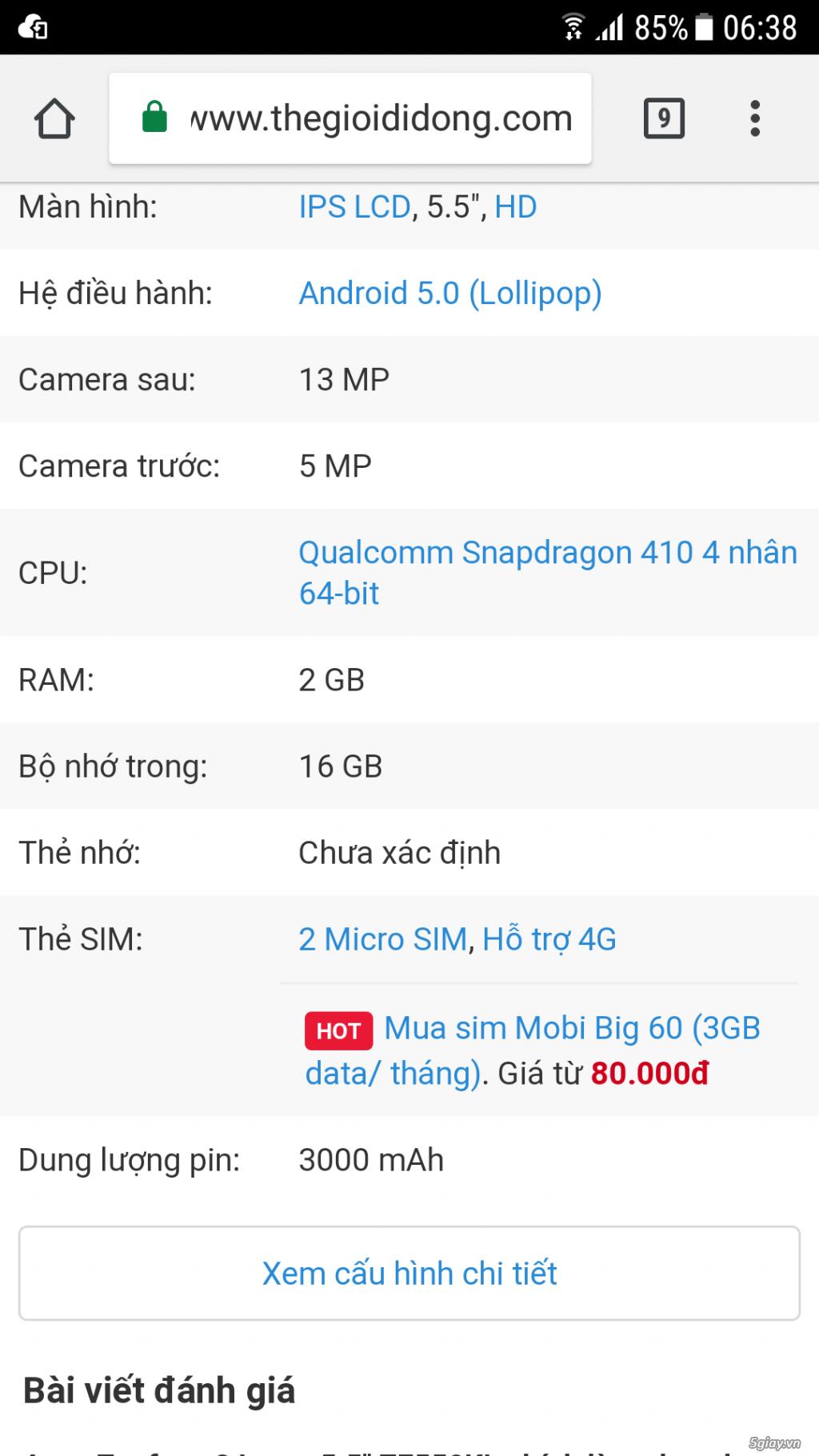 Bán điện thoại Asus Zenfone 2 Laser đen 16GB 5.5'' - 2