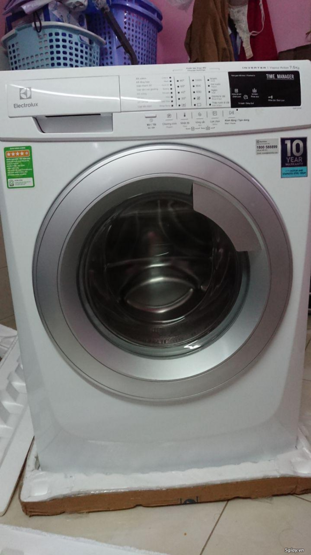 Cần bán 1 máy giặt Electrolux EWF10744 Inverter - 7,5kg mới 99.9% - 3