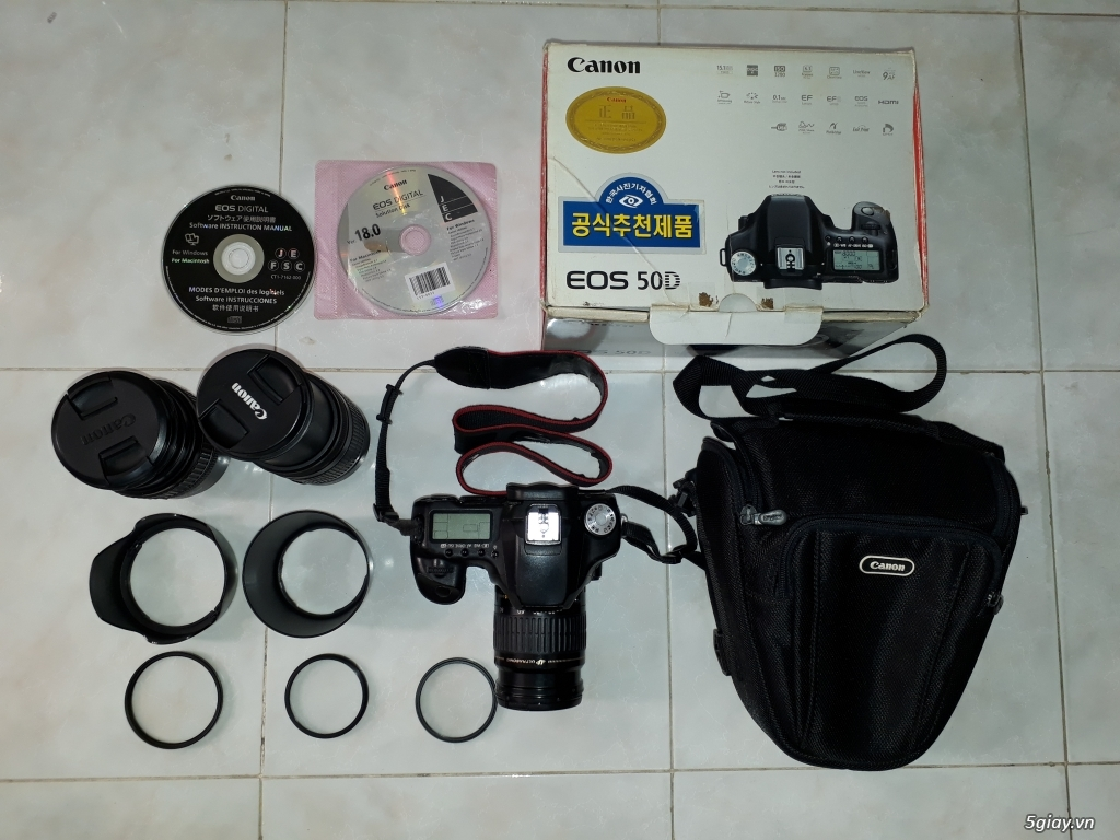 Nguyên bộ máy ảnh Canon full box, đầy đủ phụ kiện.
