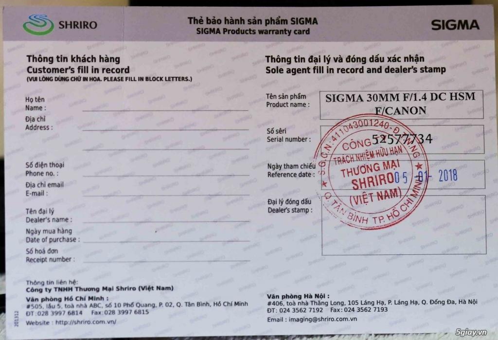 Lens Sigma 30 F1.4 ART Shriro for Canon 99.9% còn BH 1/2019