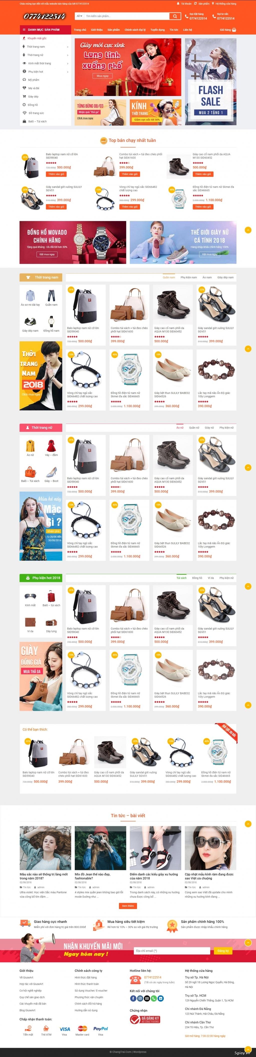 Bán web shop bán hàng tuyệt đẹp như Shopee, nhìn là đê mê, giá rẻ 900k