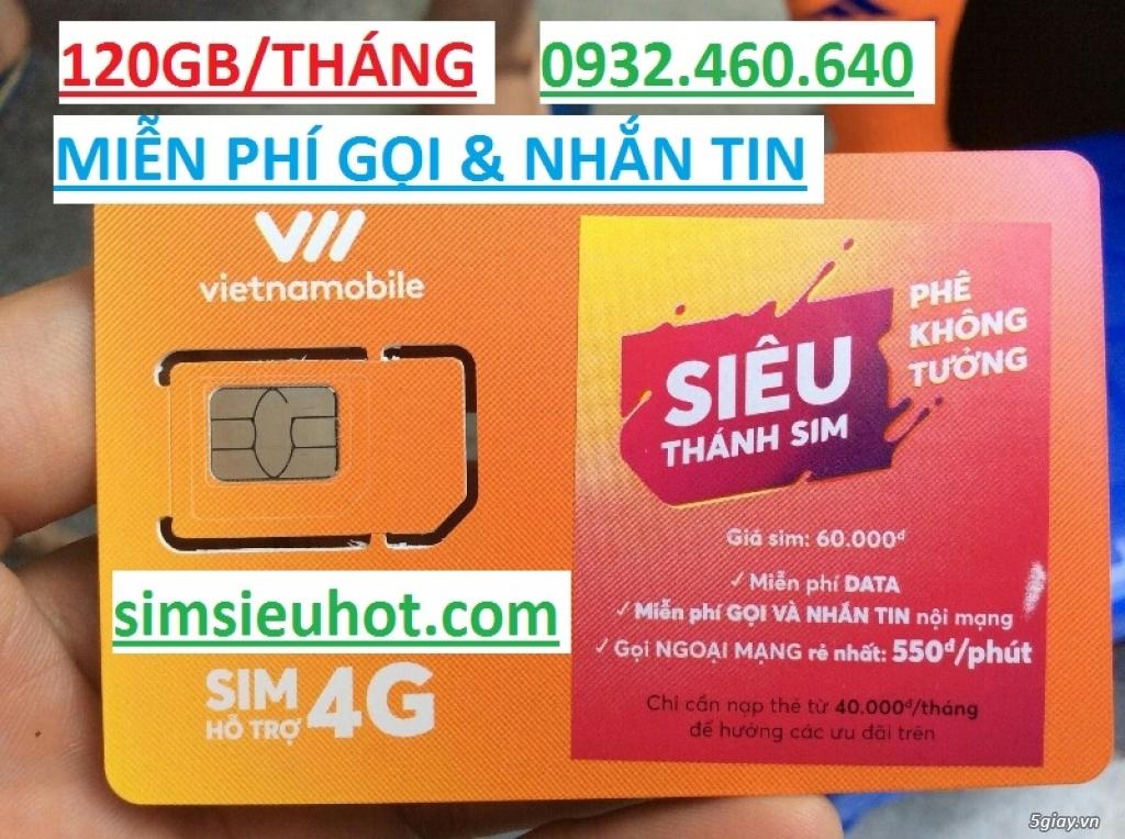 Siêu Thánh Sim 4G Vietnamobile- Tặng 120GB/ tháng- Miễn phí gọi