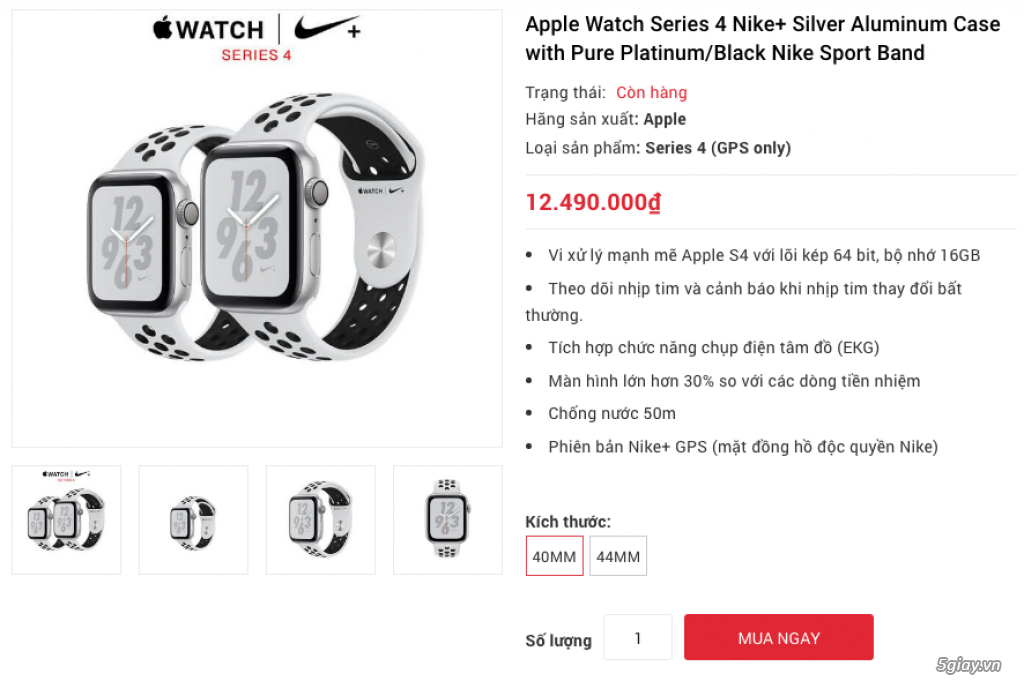 Apple Watch Series 4 40mm và 44mm sealbox bảo hành 12 tháng