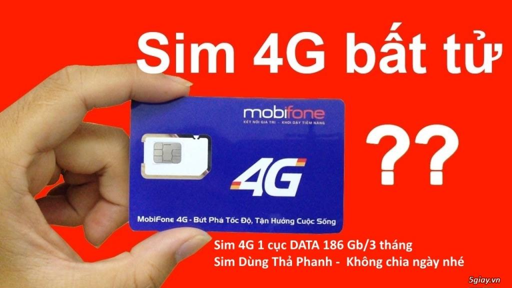 Sim 4G - Siêu DATA cục LỚN 186Gb - Không cần nạp tiền  - BẢO Lưu DATA