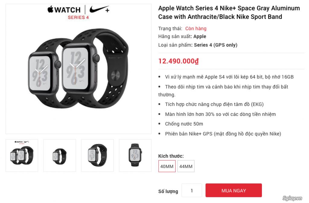 Apple Watch Series 4 40mm và 44mm sealbox bảo hành 12 tháng - 1