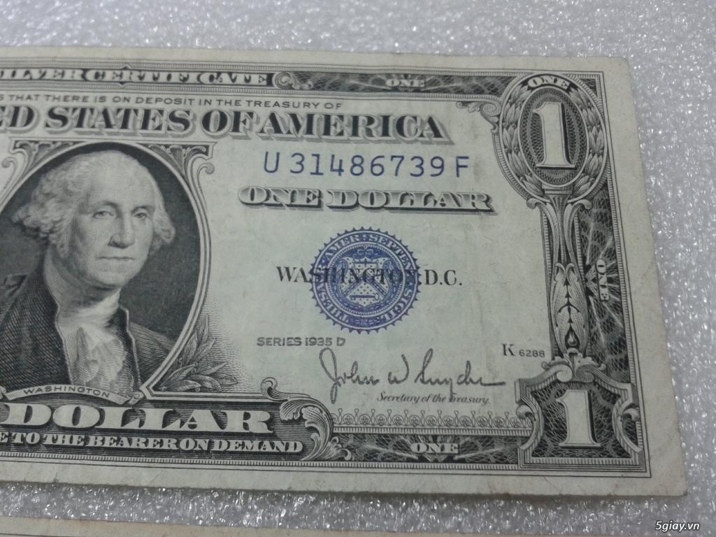 Giao lưu cặp 2 tờ tiền 1 usd 1935 mỹ xưa. 1 tờ số cuối 39 Thần Tài. 1 tờ số cuối 43. - 3