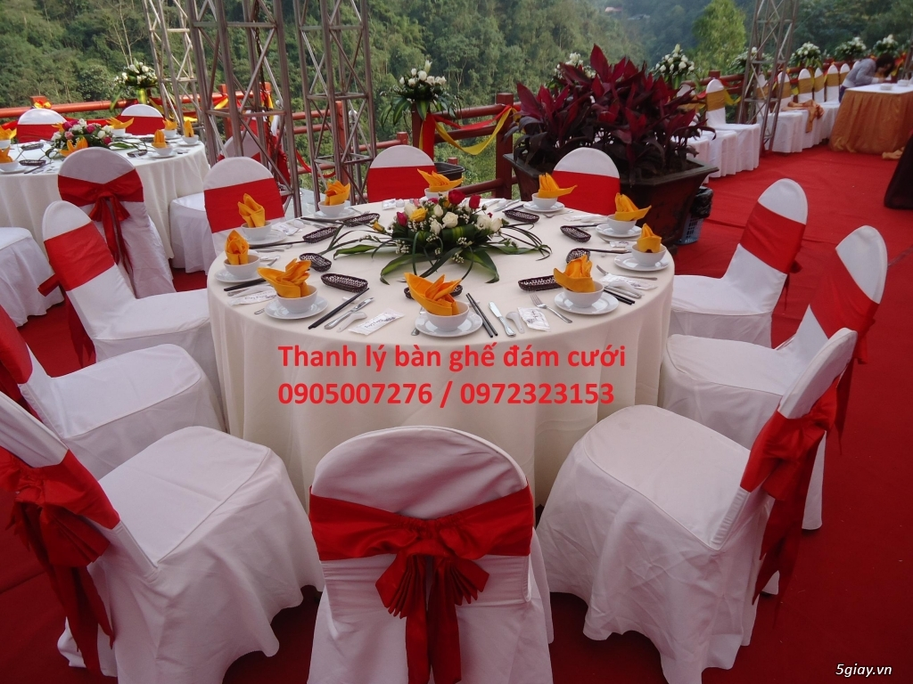 Thanh lý bàn ghế đám cưới và vật dụng tiệc tại Huế