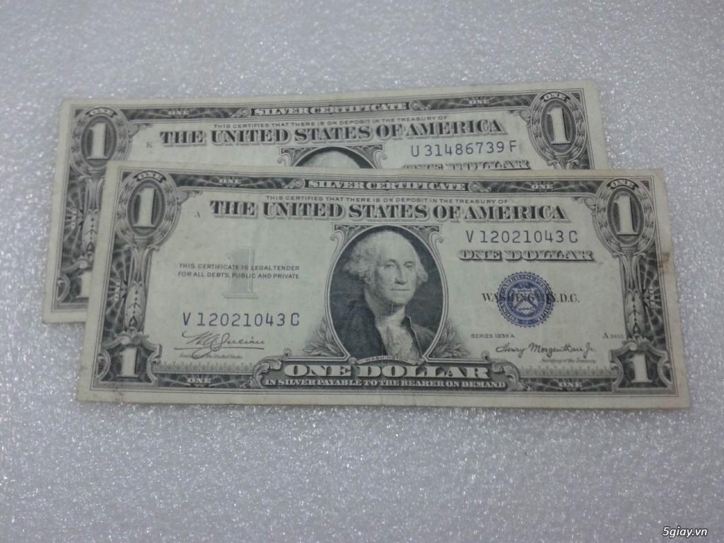 Giao lưu cặp 2 tờ tiền 1 usd 1935 mỹ xưa. 1 tờ số cuối 39 Thần Tài. 1 tờ số cuối 43. - 1