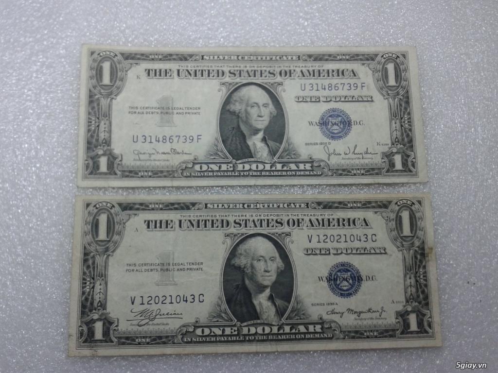 Giao lưu cặp 2 tờ tiền 1 usd 1935 mỹ xưa. 1 tờ số cuối 39 Thần Tài. 1 tờ số cuối 43.
