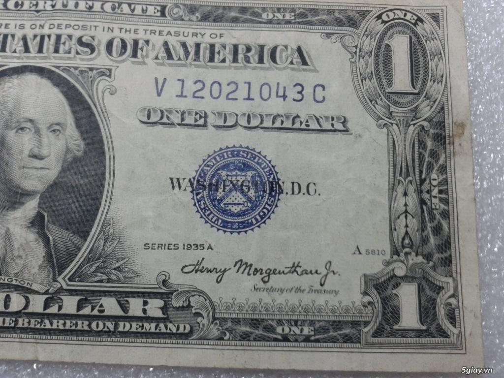 Giao lưu cặp 2 tờ tiền 1 usd 1935 mỹ xưa. 1 tờ số cuối 39 Thần Tài. 1 tờ số cuối 43. - 2