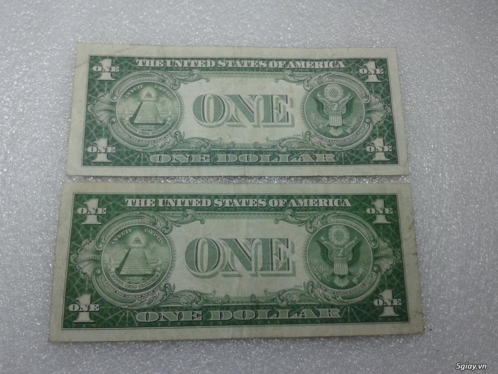 Giao lưu cặp 2 tờ tiền 1 usd 1935 mỹ xưa. 1 tờ số cuối 39 Thần Tài. 1 tờ số cuối 43. - 4