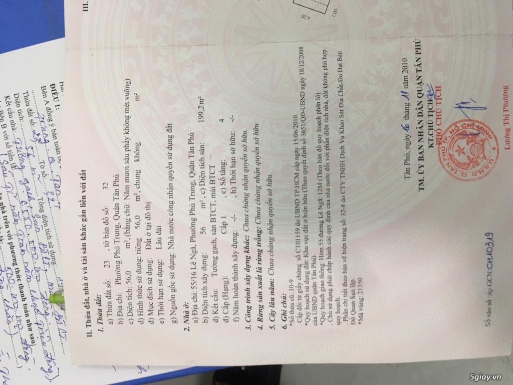 Cần bán : Nhà quận Tân Phú, hẻm 6m thông !! - 3