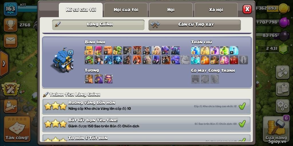 Bán ACC clash of clan
